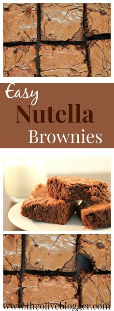 Easy Nutella Brownies - The BEST brownie you will ever make! Perfectly chewy and full of Nutella flavor! Check out this recipe and more at http://TheOliveBlogger.com