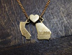 California Loves Georgia  - State Charm Necklace. How could we do this?