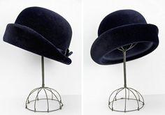 vintage 1960s hat / velvet hat / Midnight Blue by BlueRoseVintage, $56.00