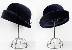 vintage 1960s hat / velvet hat / Midnight Blue by BlueRoseVintage, $56.00