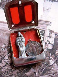 Vintage Pocket Shrine from WWII France-  ST JOSEPH- A rare peek into History. via Etsy.