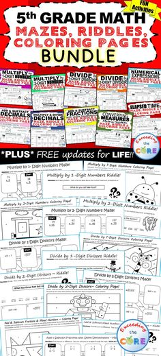 Math Coloring Pages 6th Grade : 6th grade math mazes riddles & coloring pages fun math