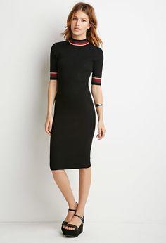 Contemporary Striped-Trim Ribbed Dress | Forever 21 - 2000155983