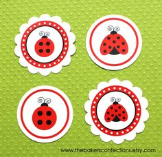 PRINTABLE Ladybug Labels for Stickers, Tags or Toppers for Straws, Cupcakes, Cake Pop - DIY - Classic Ladybug (Small Size). $3.00, via Etsy.