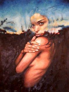 """Sunset Girl"" - Thomas Saliot, France {figurative beautiful semi-nude female african-american black woman portrait painting} Mysterious!!"