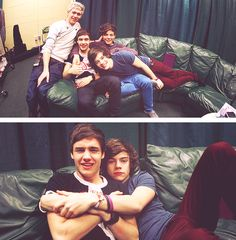 Liam: Harry, shouldn't you be hugging Louis?  Harry: Is Louis looking? Does he look jealous?