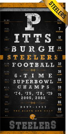 Pittsburgh Steelers Eye Chart  Chalkboard Black by RetroLeague, $24.50