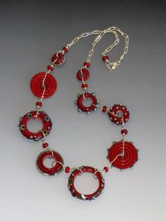 Wild Ginger Necklace in Red: handmade glass lampwork beads with sterling silver components