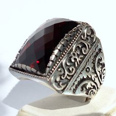 925 Sterling Silver Men's Ring with Garnet