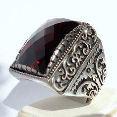 925 Sterling Silver Men's Ring with Garnet by KaraJewelsTurkey