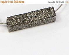 ON SALE HOLIDAY Special Price  Victorian Antique Style 3-D Rectangle Fancy Bead 16X4mm Finding Oxidized.92 Sterling Silver with Pave Diamond by AcmeJewels on Etsy