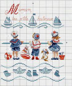 "Veronique Enginger ''Fables Contes Comptines'' - ""bateau sur l'eau"" Small Children on the Beach Watching Sailboats Cross Stitch Patterns Cross Stitch Sea, Cross Stitch Bookmarks, Cross Stitch Cards, Cross Stitch Borders, Cross Stitch Designs, Cross Stitching, Cross Stitch Embroidery, Embroidery Patterns, Cross Stitch Patterns"