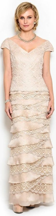 Daymor Couture 100% Silk Tiered Lace Gown