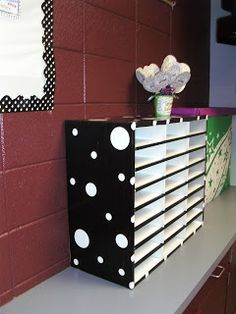 Cover with duct tape, and polka dots for mailboxes. Thinking yellow
