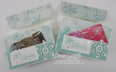 Two for Thursday ~ Snowflake Wishes August 2020 Featured project videos Christmas Gift Box, Winter Christmas, Christmas Crafts, Dawns Stamping Thoughts, Gift Cards Money, Candy Wrappers, Money Holders, Card Holders, Christmas