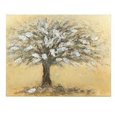 Oil wall painting canvas with tree in beige background and with silver details, in size: cm Beige Background, Prints, Painting Canvas, Paintings, Decoration, Collection, Products, Pink, Canvas Paintings