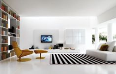 white and black Living Room Layout