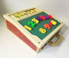 ... And so those little panels on top slid open and that's where you'd keep all your magnetic letter.   Oh Fisher Price, how you still make my heart go pitter patter!