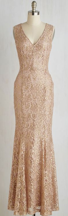 sequined gold lace gown