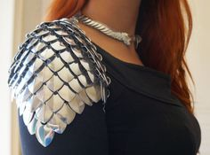 Silver scale mail spaulders shoulder armor by Silmarilclothing