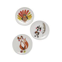 """Critter Melamine Plates, Turkey, 9"""" Dinner Plate, $4.95. Squirrel, 9"""" Dinner Plate, $3.97. Fox, 9"""" Dinner Plate, $3.97. At CrateandBarrel.com, 11/20/15"""