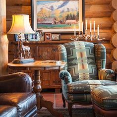 Reading nook area in the great room of a rustic cabin, cottage or lodge. Also called a family room, living room or cabin interior. Rustic Log Furniture, Cabin Furniture, Western Furniture, Furniture Design, Cabin Interiors, Rustic Interiors, Rustic Room, Rustic Bedrooms, Southwest Decor