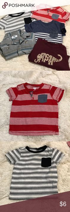 Toodler shirt bundle-Final Price💥 Toodler shirt bundle 4 are 12-18m and one is 12m. Used in good condition  3 old navy shirts Red shirt white with black stripes ( white one has a minor stain as pictured)  Gray long sleeve button up 1 cat and jack shirt  1 gymboree magenta long sleeve Shirts & Tops