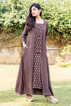 dca9d69da237 Brown Kantha Long Jacket with Sleeveless Block Printed Inner and Pants.  MISSPRINT. Western Dresses ...