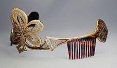 Antique Tiara, Russia (ca. 1830-1850; paste gemstones, silver-gilt, tortoiseshell).