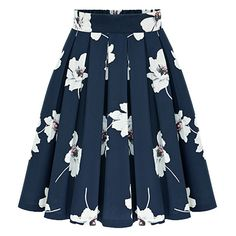 Flowers Print Chiffon Pleated Navy Skirt (63 BRL) ❤ liked on Polyvore featuring skirts, navy, navy pleated skirt, navy a line skirt, knee length pleated skirt, pleated chiffon skirt and short skirts