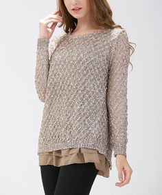 This Simply Couture Taupe Shimmer Wool-Blend Scoop Neck Tunic by Simply Couture is perfect! #zulilyfinds