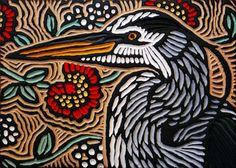 Lis Brawn - Great Blue Heron  painted woodcut block  on salvaged Douglas Fir  10.75 x 7.5