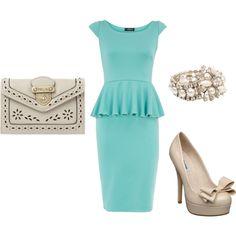 original! mint peplum dress with nude accessories