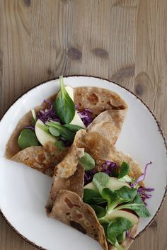 Chestnut Crêpes + Goat's Cheese & Almond Butter Spread, Red Cabbage, Lettuce & Apple
