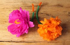 How to make a Mexican paper flower headpiece for Day of the Dead using paper flowers and a mini top hat