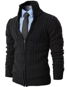 H2H Mens Casual Knitted Cardigan Zip-up with Twisted Pattern GRAY US L/Asia XL (KMOCAL017)