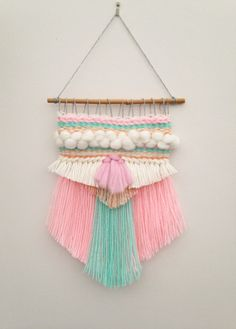 Items similar to Woven Wall Hanging on Etsy – Robin McGowan – weberei Weaving Wall Hanging, Weaving Art, Tapestry Weaving, Loom Weaving, Hand Weaving, Wall Hangings, Yarn Crafts, Diy Crafts, Weaving Projects