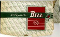 Bill Nr 443 mild Virginia cigarett tillverkat av Svenska Tobaksmonopolet i 2 omgångar mellan 1939 och 1990