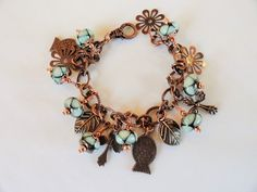 Lampwork Bracelet Copper Charms Glass Bead by emeraldcityartglass
