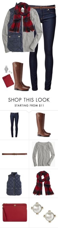 """Red, navy & gray"" by steffiestaffie ❤ liked on Polyvore featuring Naked & Famous, Tory Burch, H&M, J.Crew, Brooks Brothers, Banana Republic and Marc by Marc Jacobs"