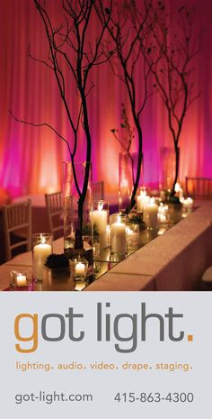 Wedding Reception Table with Branches and Candles.  Lighting and Drape by Got Light.