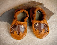 Bison Buffalo Soft Soled Leather Shoes Slippers Baby pick your size 0-3m, 3-9m, 6-12 m, 12-18m
