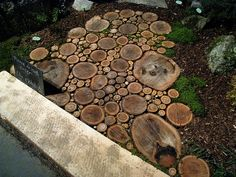 Garden path of log cuttings -perfect for muddy areas