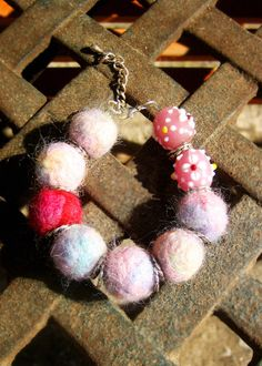 Soft needle felted bracelet with handmade lampwork beads
