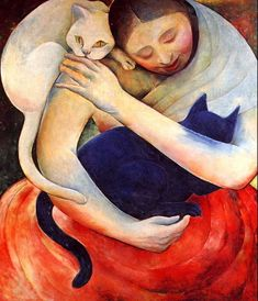 Woman with cats painting