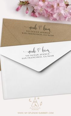 Add your return address in style with these customized rubber address stamps. Featuring a fancy calligraphy script design, your address and name and a whimsical heart. Great for all your mailings as well as a birthday or housewarming gift, wedding present or personalized gift for all occasions! You can use it for your business Cards too.