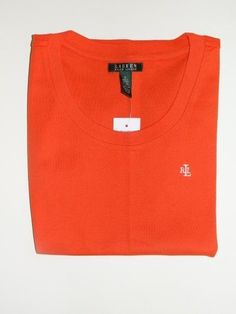 Ralph Lauren Orange 100% Cotton Round Neck T-Shirt Size Small NWT FREE SHIPPING #RalphLauren #BasicTee