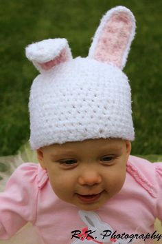 Crochet Easter Hat bunny hat 0 to 3 months photography by echats, $20.00
