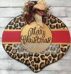 Christmas Door Hanger: Leopard Print Ornament by SparkledWhimsy