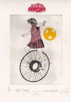 Gravures & Estampes | Jeanne Picq | L'équilibriste | Tirage d'art en série limitée sur L'oeil ouvert
